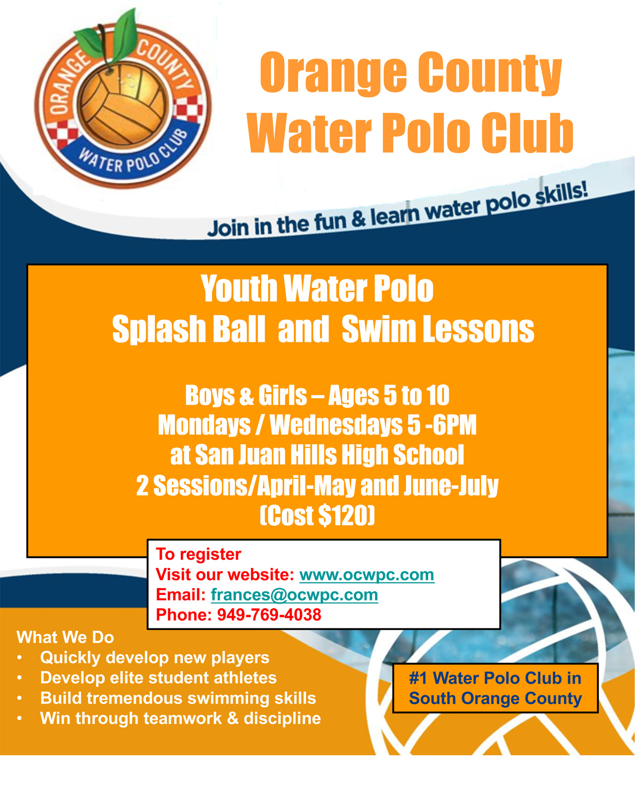 OCWPC Spring Splashball Flyer